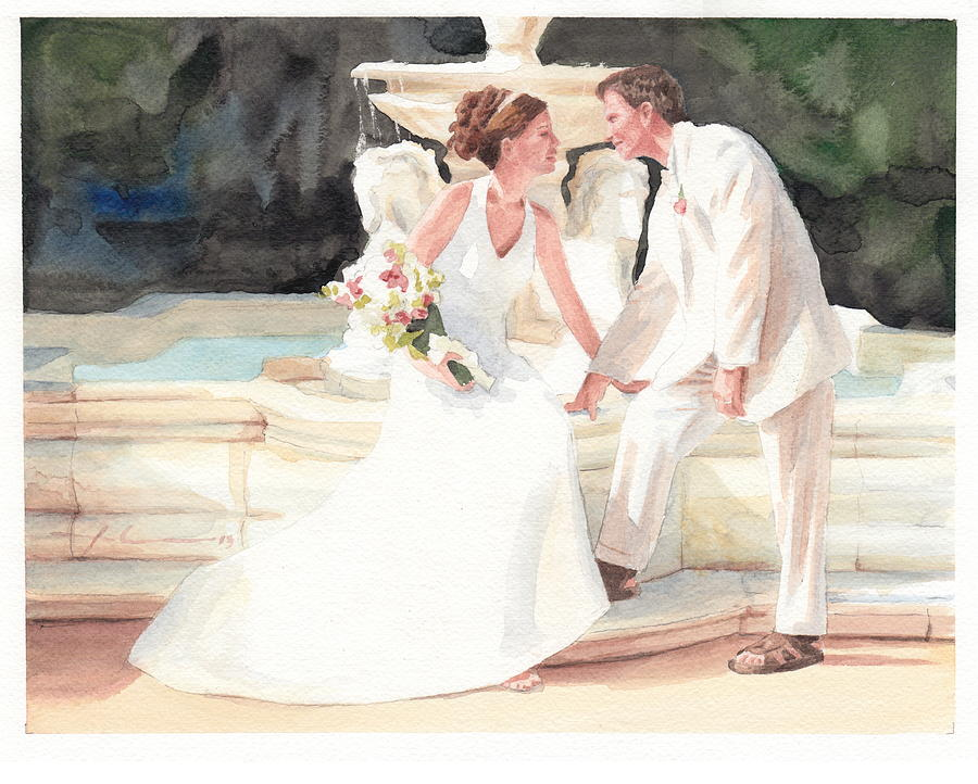 900x722 Bride Groom Fountain Watercolor Portrait Drawing By Mike Theuer