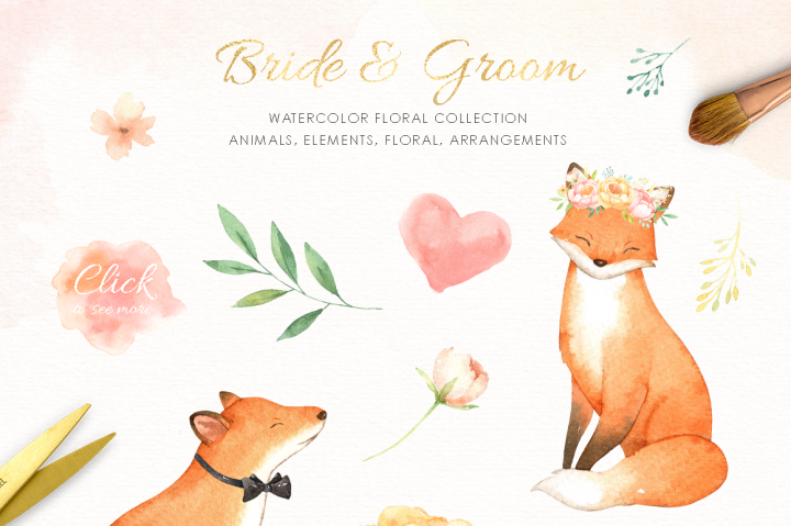 720x479 Bride Amp Groom Watercolor Clipart By Everysunsun