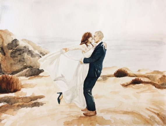 570x434 Bride And Groom Watercolor Painting Wedding Portrait Etsy