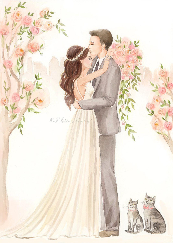 1068x1500 Custom Couple Portrait Illustration