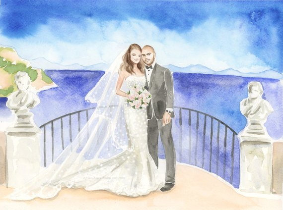 570x424 Custom Family Portrait Watercolor Sketchchildren Etsy