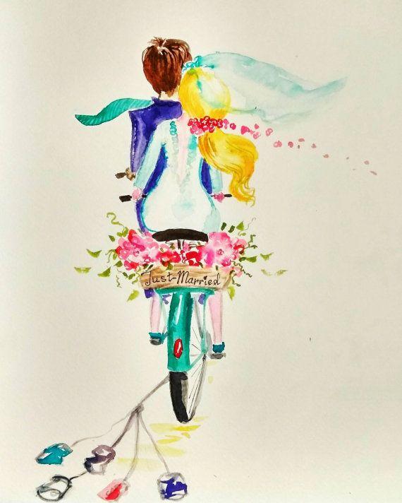 570x712 Just Married Original Watercolor Painting, Bicycle, Bike, Bride