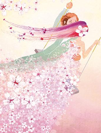 343x451 Sakura Bride Groom Couple Swing Watercolor Wedding Card By Masha D