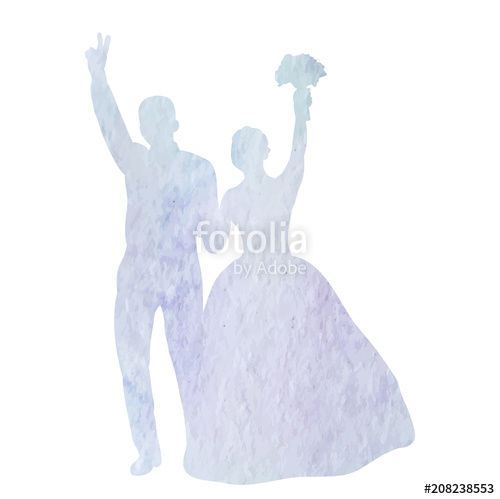 500x499 Vector, Isolated, Icon, Watercolor Silhouette Of Wedding, Bride