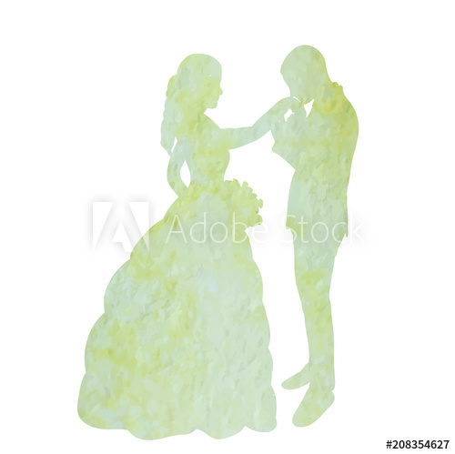 500x499 Vector, Isolated Watercolor Silhouette Of The Bride And Groom