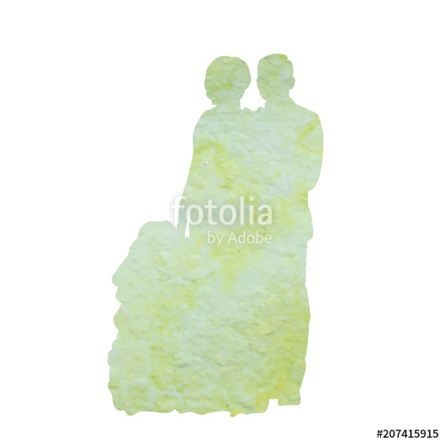 500x499 Watercolor Silhouette Of The Bride And Groom, Isolated On White