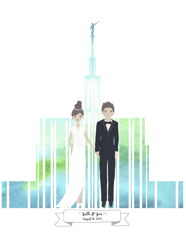 2400x3000 Watercolor Temple Wedding Portrait, Bride And Groom, Lds Wedding