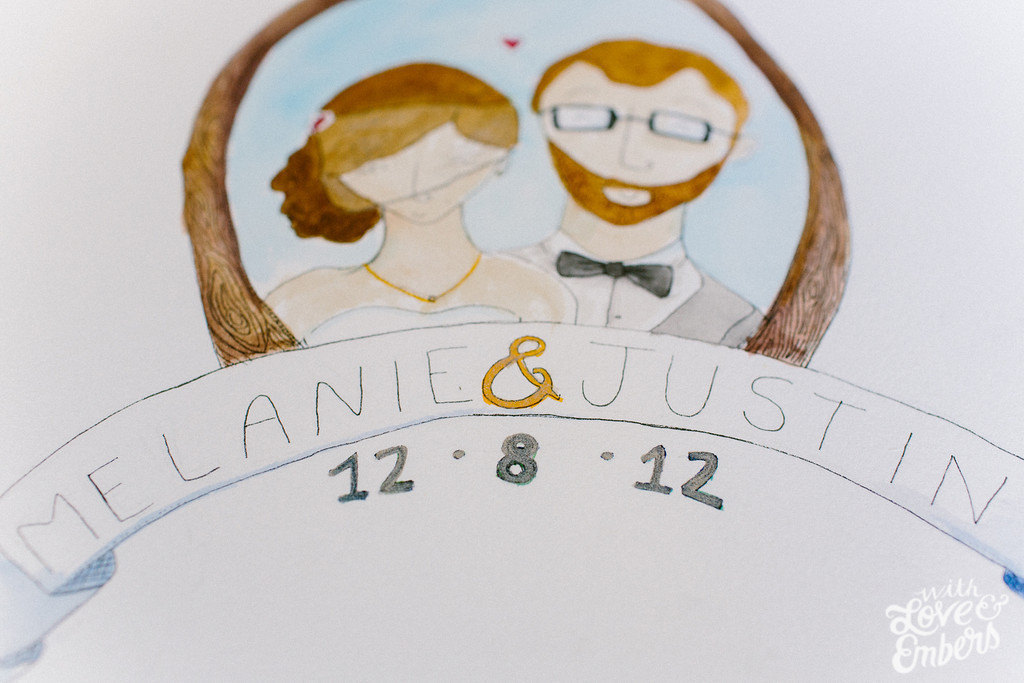 1024x683 Watercolor Wedding Portrait Of The Bride And Groom