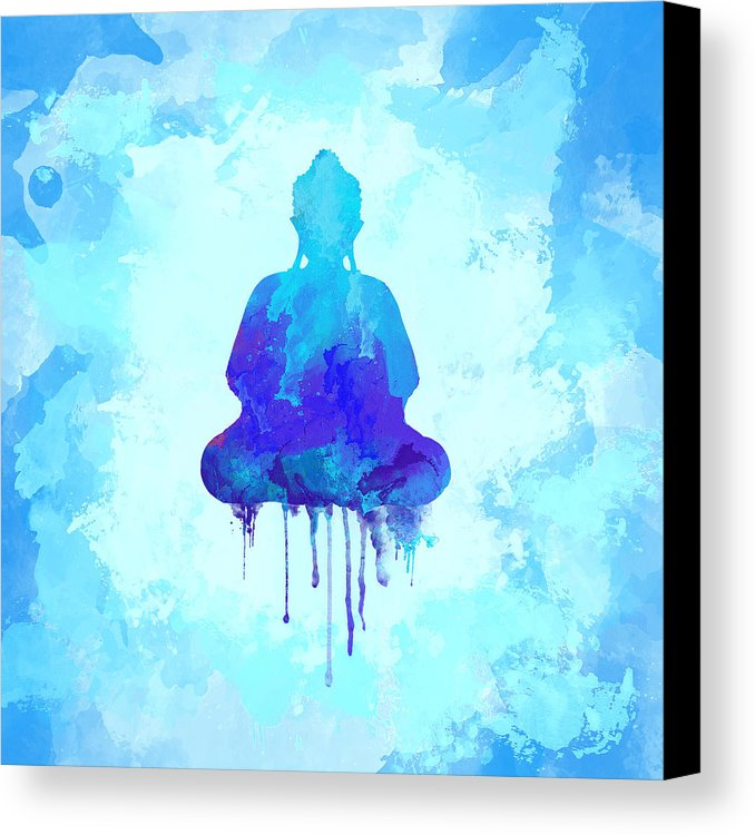 678x750 Blue Buddha Watercolor Painting Canvas Print Canvas Art By