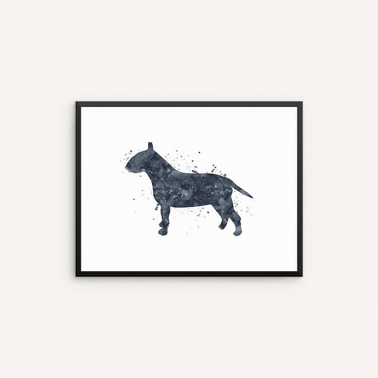 750x750 Bull Terrier Watercolor Art Print, Dog Watercolor Wall Art, Wall