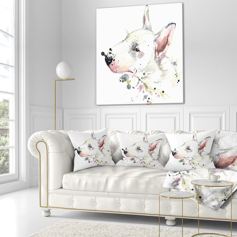 800x800 East Urban Home Animal Bull Terrier Dog Watercolor Pillow Wayfair