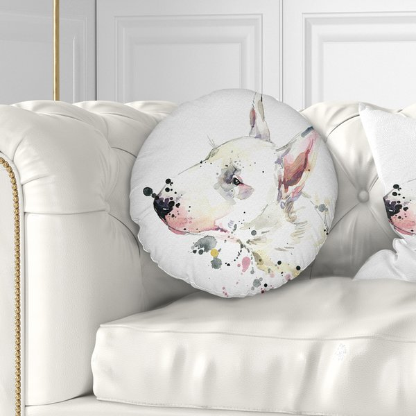 600x600 East Urban Home Animal Bull Terrier Dog Watercolor Throw Pillow
