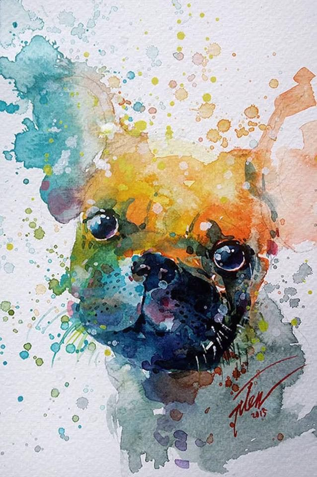 638x960 French Bulldog Watercolor Darling Frenchies French