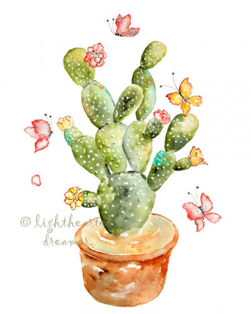 500x625 Cactus Watercolor Print, Southwestern Decor, Whimsical Desert Art