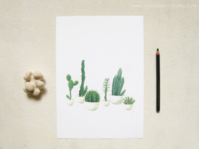 642x482 Cactus Watercolor Print Any One 8x10 Or 8x11 Cactus Art Etsy