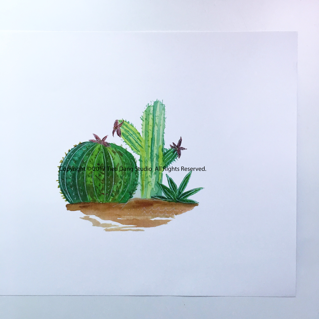 1024x1024 Cactus Watercolor Print Tieu Dang Studio