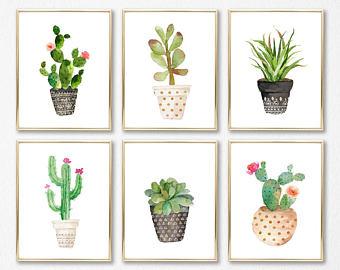 340x270 Cactus Print Set Etsy