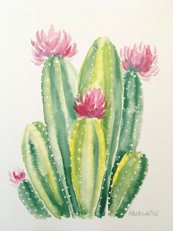 570x760 Cactus Watercolor Print Etsy
