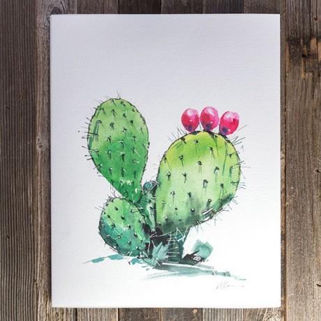 460x460 Prickly Pear Watercolor Print