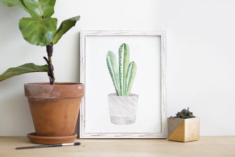 480x320 Purple Cactus Watercolor Print Lilac Paperie