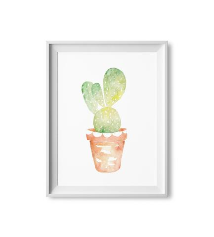 433x480 Scalloped Cactus Watercolor Print Lilac Paperie