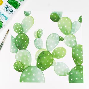 300x300 Square Prickly Pear Cactus Pattern