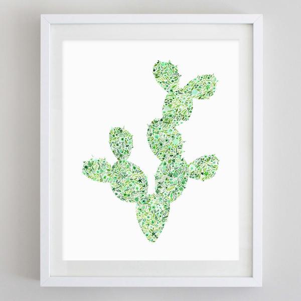 600x600 Cactus 2 Floral Watercolor Print Carly Rae Studio