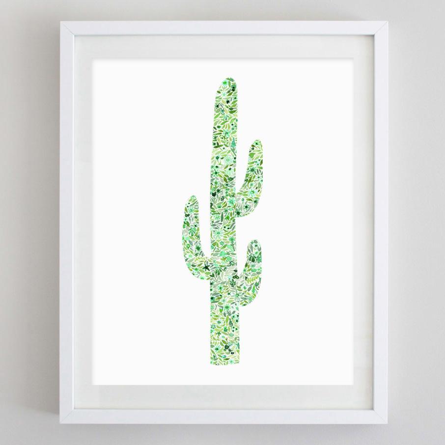 906x906 Cactus Floral Watercolor Print Carly Rae Studio