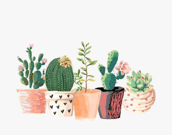 570x448 Cactus Print, Printable Art, Cactus Art, Home Decor, Potted Cactus