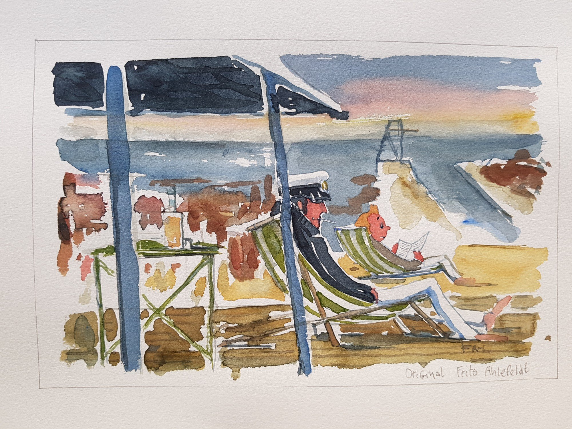 2000x1500 Original Bornholm East Paradise Cafe Watercolor Frits Ahlefeldt