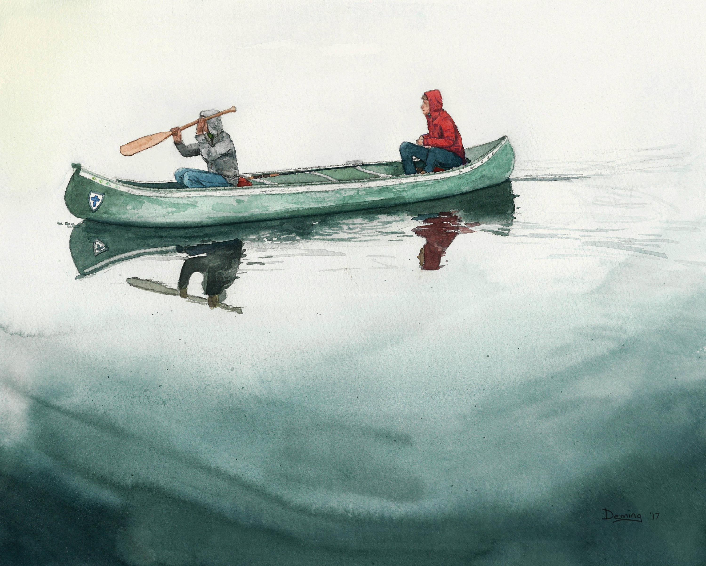 3000x2400 Canoe Print Watercolor Print Canoeing Fishing Art Print Etsy