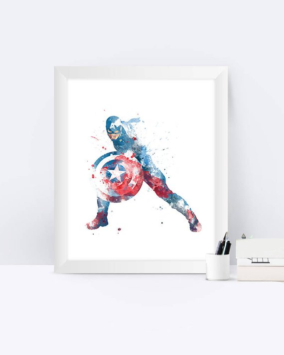 570x713 Captain America Print Watercolor Poster Captain America Art Etsy