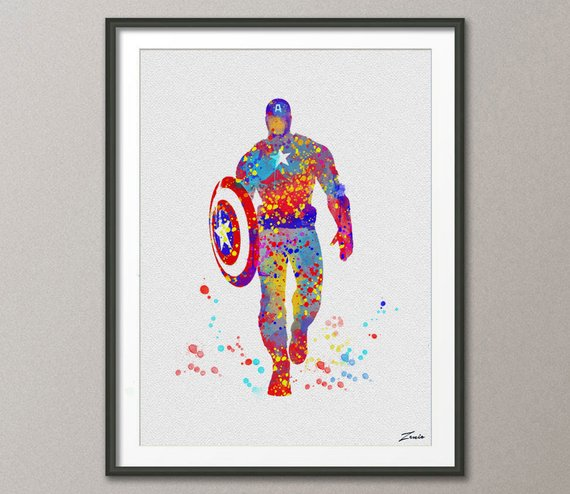 570x494 Captain America Print Watercolor Art Captain America Poster Etsy