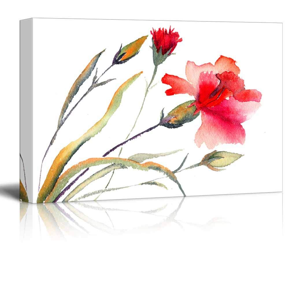 1000x1000 Red Blooming Carnation Watercolor Art Painting Decor