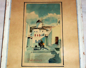 300x236 1967 Signed Watercolor Painting Portugal Village Windmill Burro