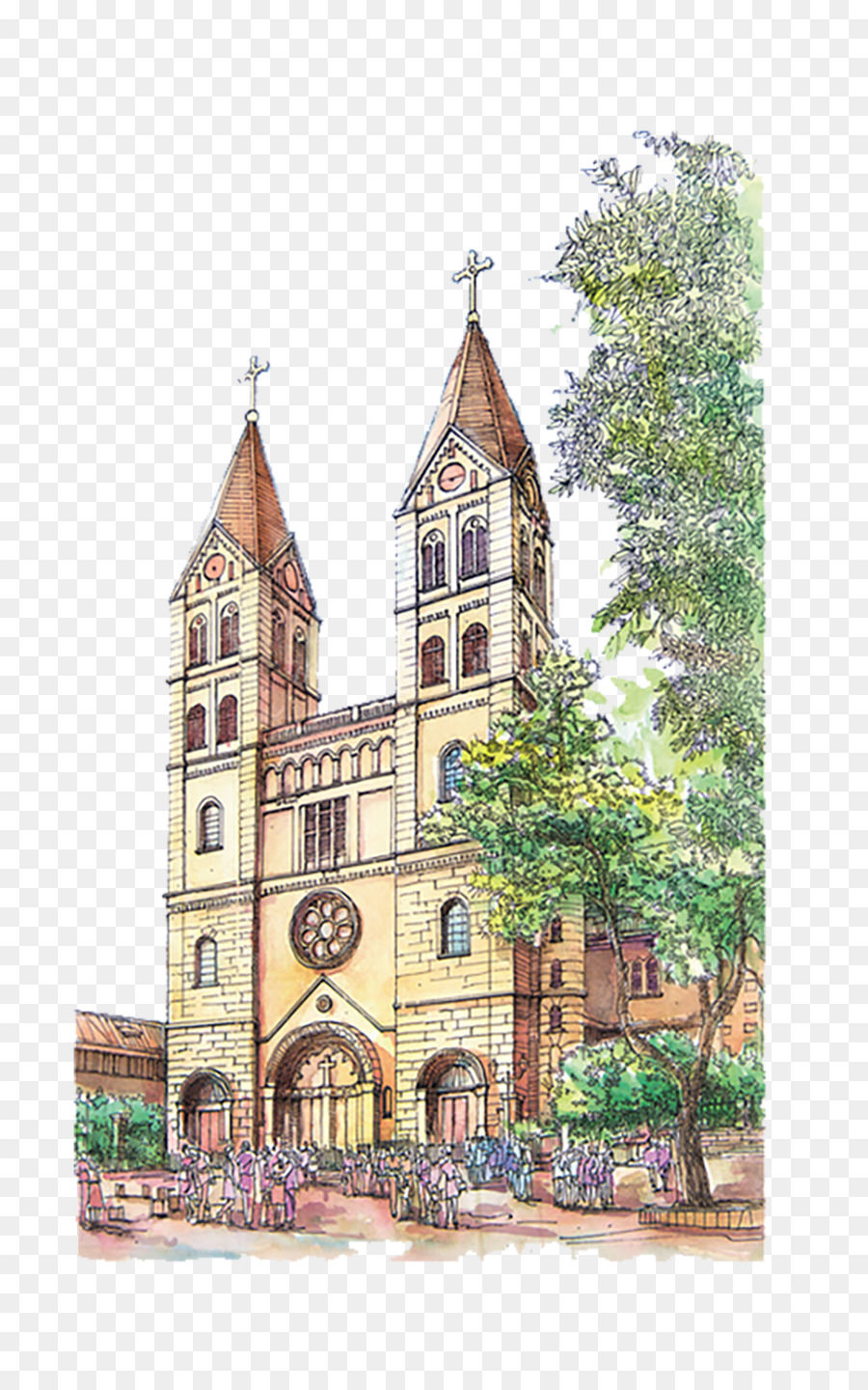 900x1440 Europe Watercolor Painting Architecture