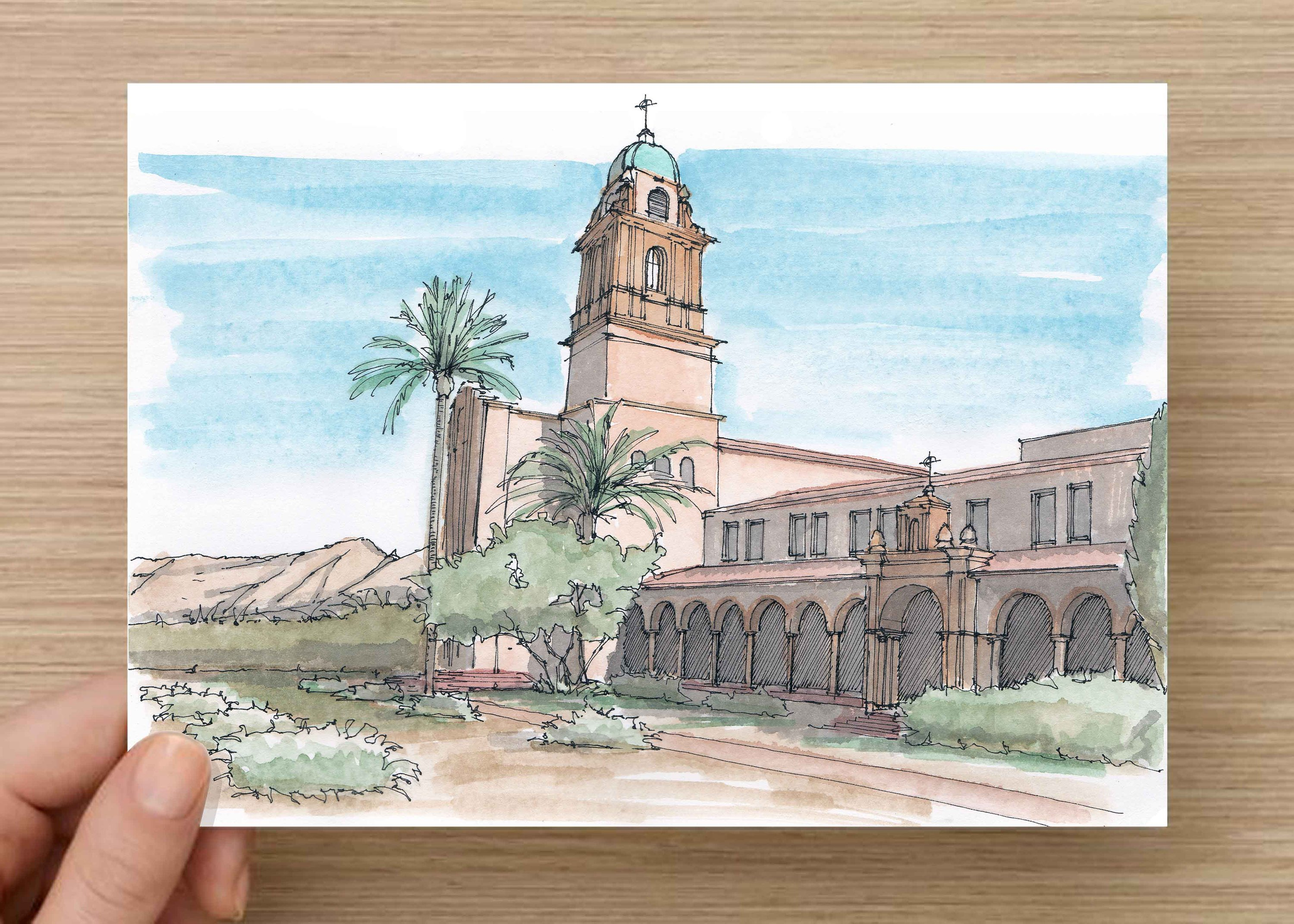 3000x2143 Ink And Watercolor Drawing Of Bendictine Monastery In Tucson
