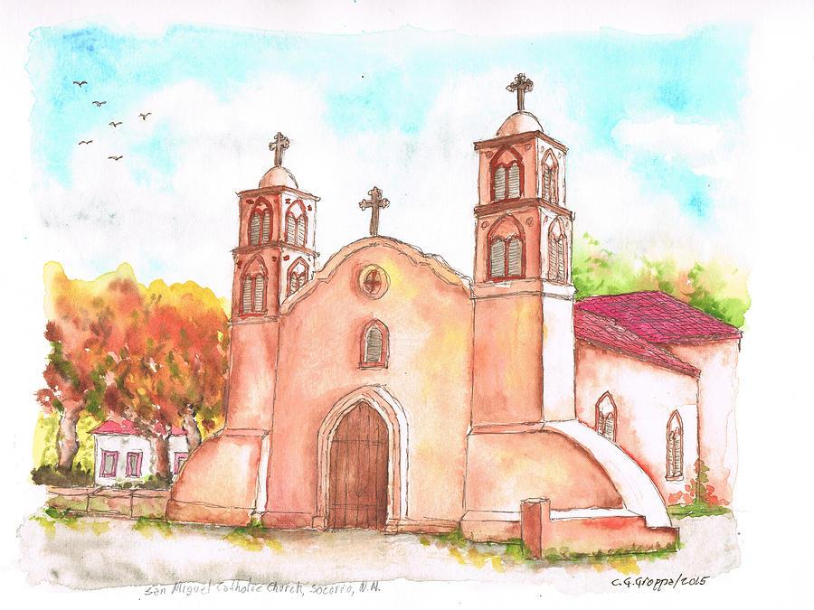 900x675 San Miguel Catholic Church, Socorro, New Mexico Painting By Carlos