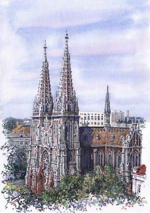 300x425 Ukraine Art Gallery Watercolor St. Nicholas Roman Catholic