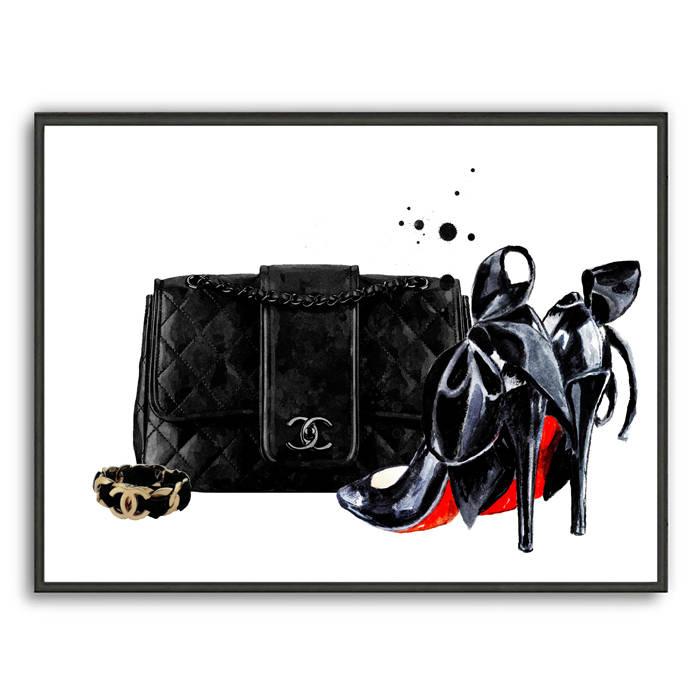 deb9abeb67a699 700x700 Chanel Art Print Chanel Bag Painting Fashion Illustration Etsy