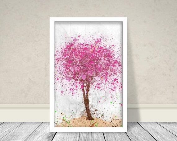 570x453 Cherry Blossom Tree Watercolor Tree Watercolor Cherry