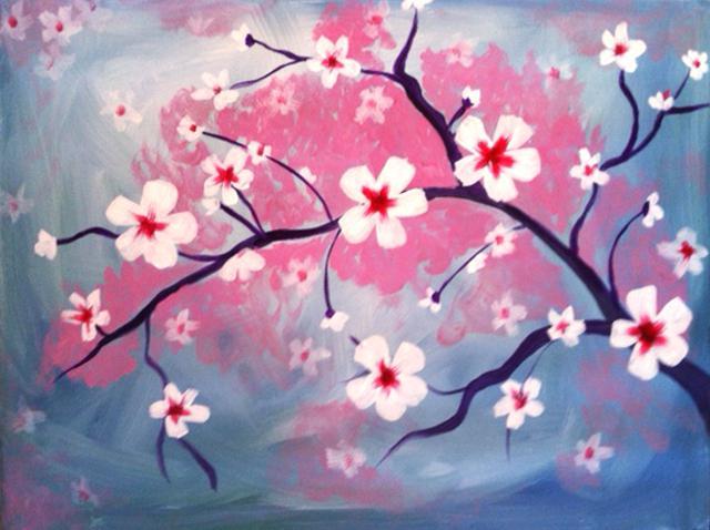 640x478 Cherry Blossom Paint White Cherry Blossoms Cherry Blossom Tree