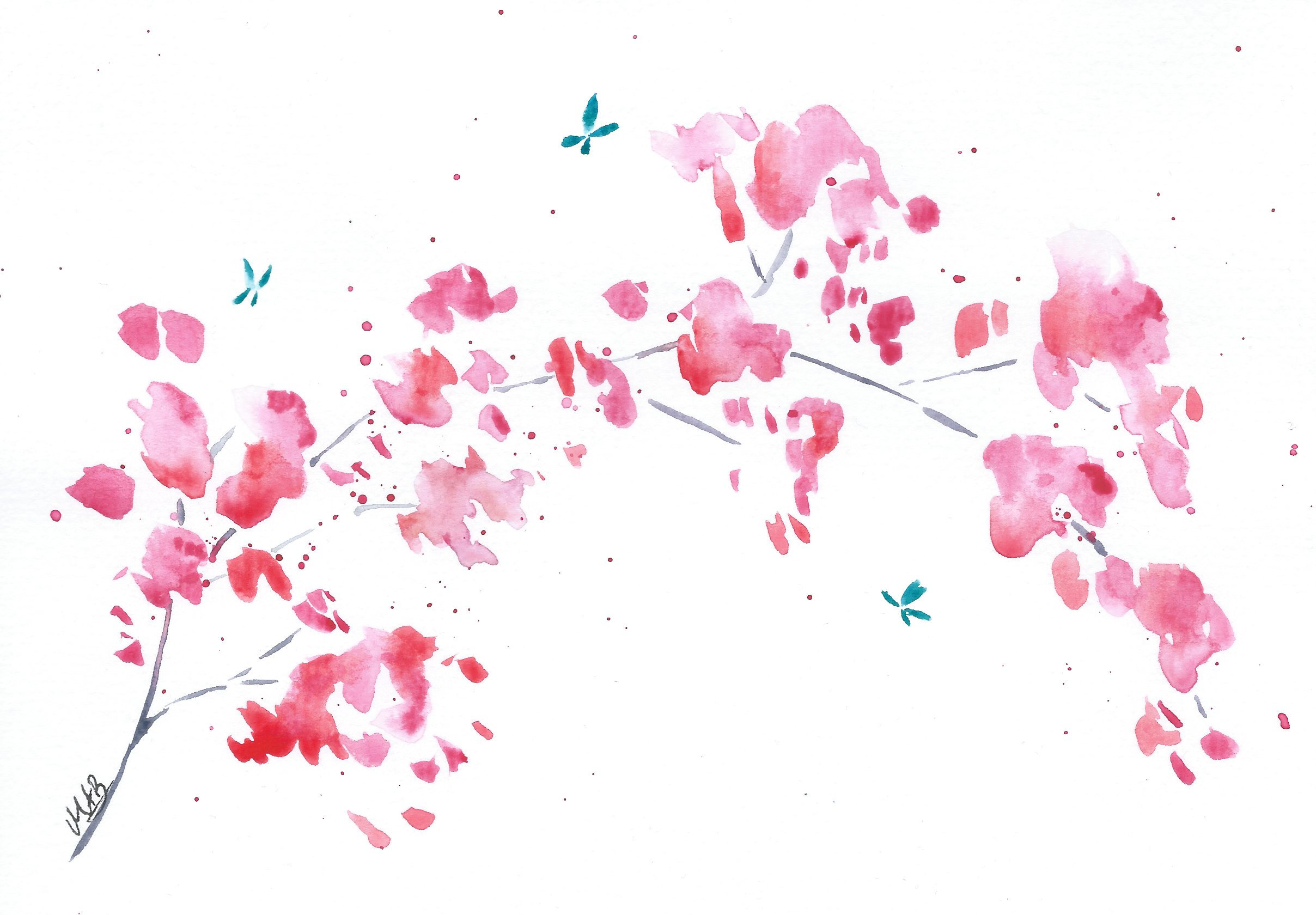 2416x1680 Cherry Blossom Painting Original Watercolor Painting Cherry