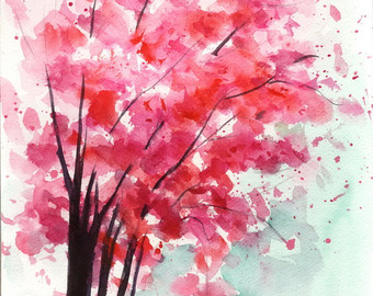 340x270 Cherry Trees Watercolor Cherry Blossoms Painting Cherry