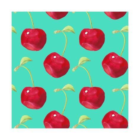 473x473 Summer Fruit Pattern. Watercolor Cherry Pattern. Watercolor