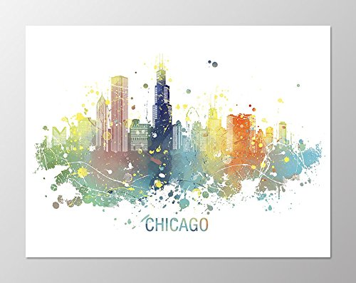 500x397 11x14 Chicago Skyline Poster
