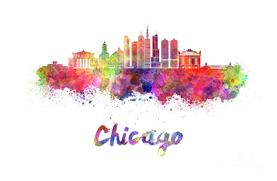 900x590 Chicago Skyline In Watercolor Painting By Pablo Romero