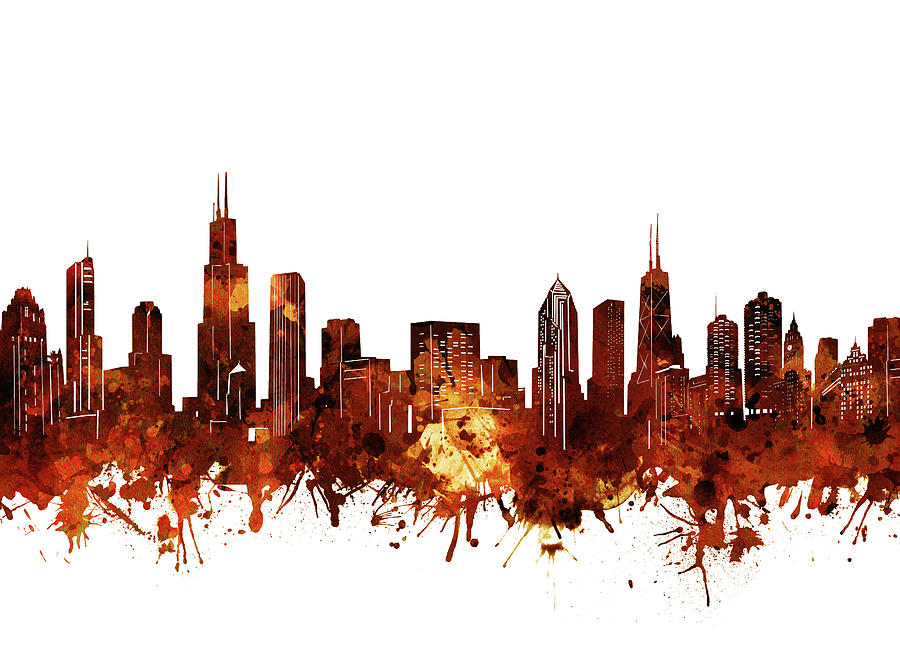 900x666 Chicago Skyline Watercolor 6 Digital Art By Bekim Art