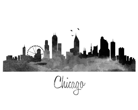 570x456 Chicago Skyline Watercolor Art Print Color Amp Bw Etsy