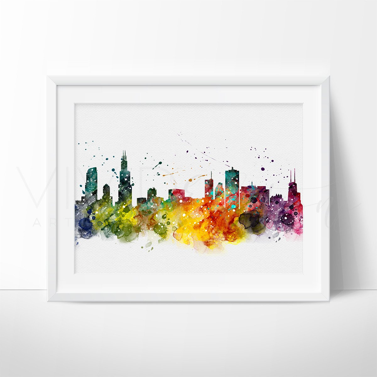 1200x1200 Chicago Skyline Watercolor Art Print Wall Decor